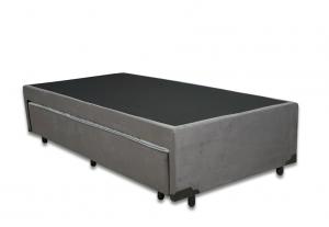 Box Auxiliar Classe de Molas Suede Cinza Solteiro 0.88x1.88x0.40
