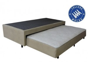 Base Auxiliar Classe Mola Suede Bege Solteiro King 0.96x2.03x0.41