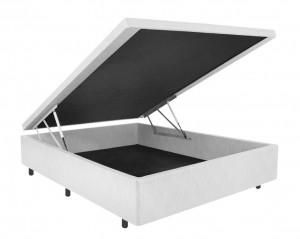 Box Baú Couro Ecológico Linho Branco Casal 1.38x1.88x0.40