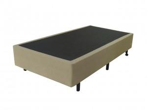 Box Inverter Couro Ecológico Linho Bege Solteiro 0.88x1.88x38