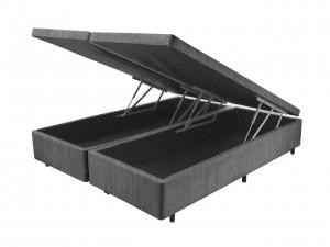 Box Baú Couro Ecológico Linho Cinza Bipartida King 1.93x2.03x0.45