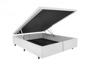 Box Baú Space Couro Ecológico Linho Branco Queen 1.58x1.98x34