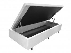Box Baú Couro Ecológico Linho Branco Solteiro 0.88x1.88x0.43