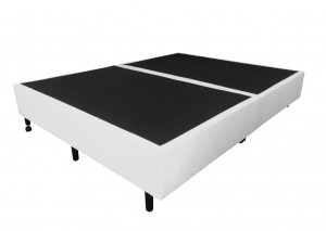 Box Inverter Couro Ecológico Linho Branca Queen 1.58x1.98x0.38