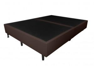 Box Inverter Couro Ecológico Linho Marrom King 1.93x2.03x0.38