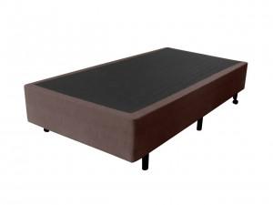 Box Inverter Couro Ecológico Linho Marrom Solteiro King 0.96x2.03x38